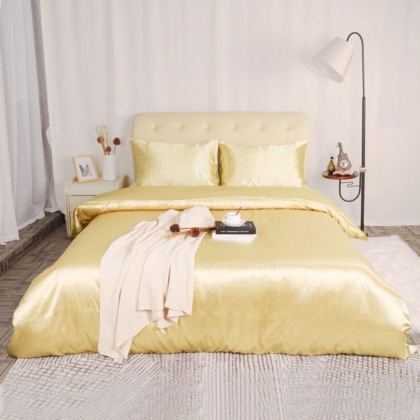 3 Piece Bedding Duvet Cover, Gold Satin Bedding