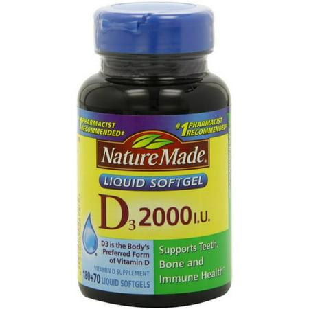 Nature Made Vitamin D3 2,000 I.U. Liquid Softgels 250 ea