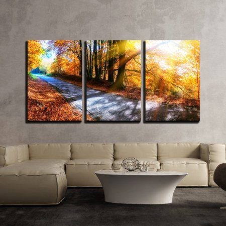 wall26 - 3 Piece Canvas Wall Art - Panoramic Autumn Landscape with Country Road in Orange Tone - Modern Home Decor Stretched and Framed Ready to Hang - 16