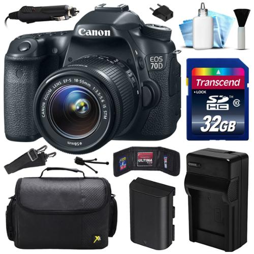 Canon EOS 70D DSLR SLR Digital Camera w/ 18-55mm STM Lens (32GB Value Bundle)