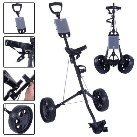 Goplus Foldable 2 Wheel Push Pull Golf Cart /Cup Holder Trolley Swivel Steel Light (2 Wheel)