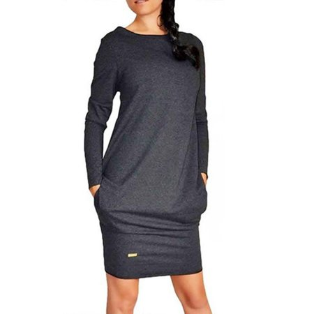 Womens Winter Sweatshirt Dress Hoodie Pullover Jumper Top Package Hip Skirt Pockets Sweater Long Sleeve Dress
