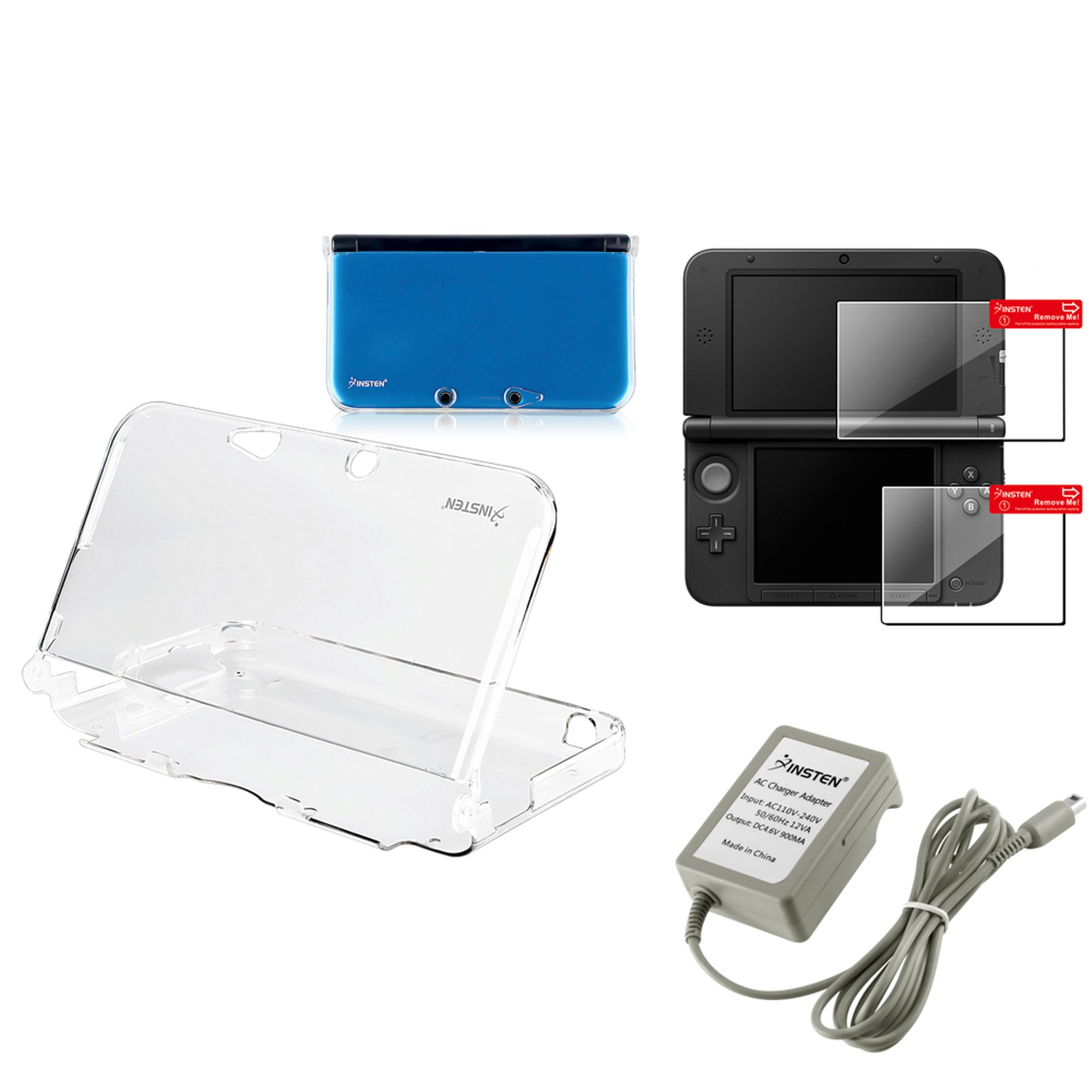 Insten Clear Crystal Case+2-LCD Screen Protector+Travel Charger For Nintendo 3DS XL