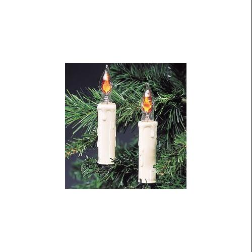Set of 7 Flicker Flame Candle Clip-On Christmas Lights - Green Wire