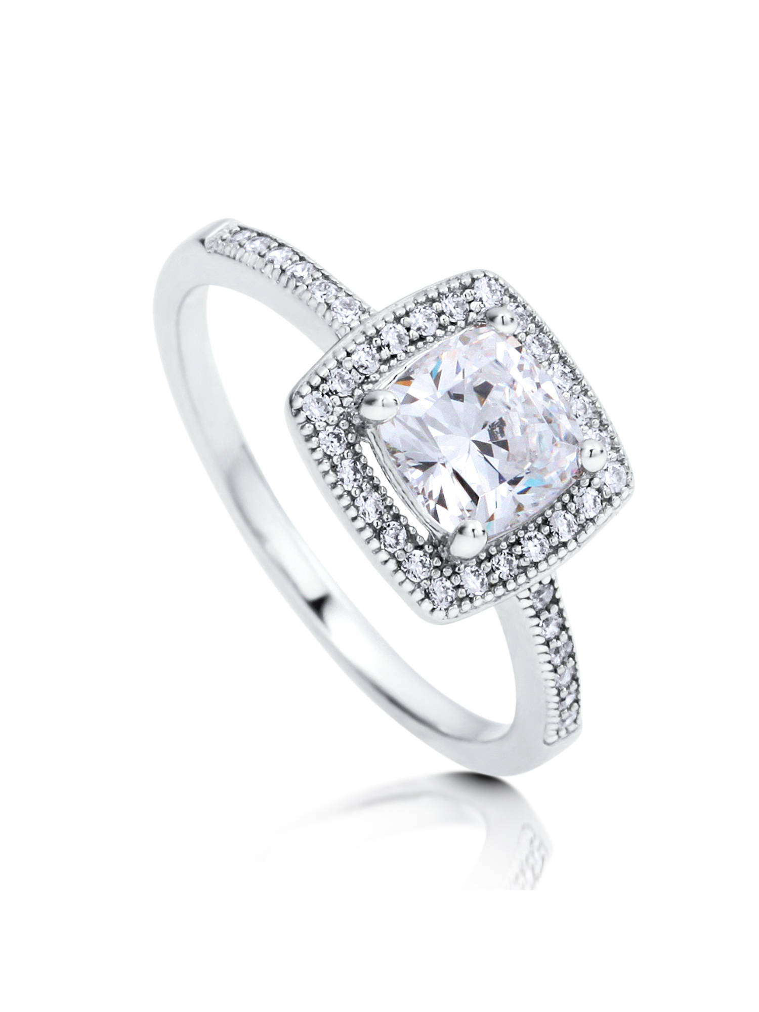 BERRICLE Rhodium Plated Sterling Silver Cubic Zirconia CZ Halo Promise Engagement Ring Size 10.5