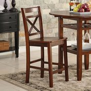 ACME Tartys Counter Height Chair (Set-2), Cherry-Color:Cherry,Quantity:2,Style:Transitional