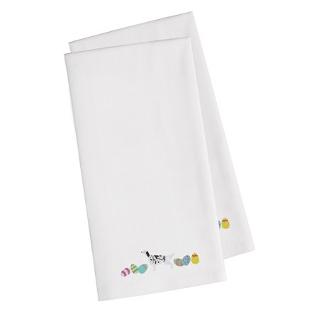 English Setter Easter White Embroidered Kitchen Towel Set