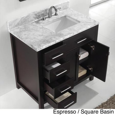 Left Side Sink Vanity : USA Caroline Parkway 36-inch Single-sink Bathroom Vanity Set Left side ...