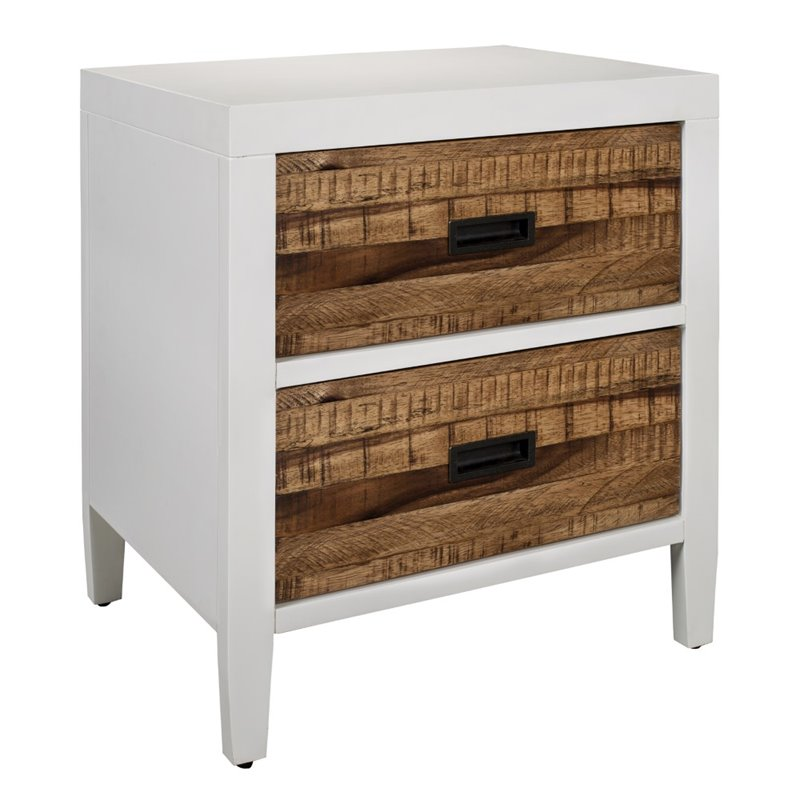 Modus Montana 2 Drawer Nightstand in White Lacquer and Natural Sengon by Modus Furniture