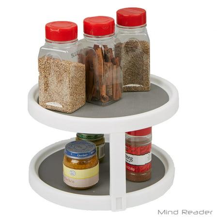 Mind Reader 2-Tier Kitchen Storage Spice Rack Counter top Organizer, Spins 360 Degrees, (Countertop Storage)