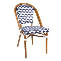 Design Lab MN LS-3003-BLUWHT Aluminum Bamboo Blue Patio Chair