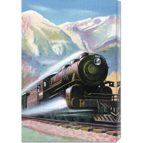Global Gallery 'Steaming Full Speed Ahead' by Retro Travel Painting Print on Wrapped Canvas