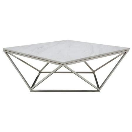 Nuevo Jasmine Square Marble Top Coffee Table In Silver And White - Nuevo marble coffee table