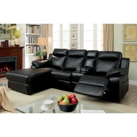 Sectional Sofa Console Recliner Modern Black Leatherette Plush Cushion Arms  Small Corner Sectional Living Room