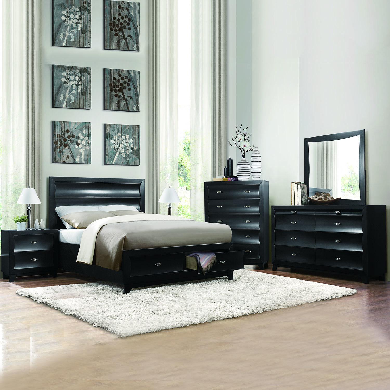 HE Akeela Contemporary Black or White Platform Storage 5-piece Bedroom Set