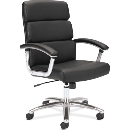 Sharp Series Leather - basyx VL103 Series Executive Mid-Back Chair, Black Leather