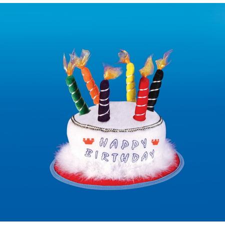 Star Power Happy Birthday Cake & Candle Party Hat, White, One Size - Happy Birthday Cake Hat