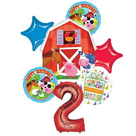 Farm Animal 2nd Birthday Party Supplies and Barn Balloon Bouquet Decorations (Barn Party Supplies)
