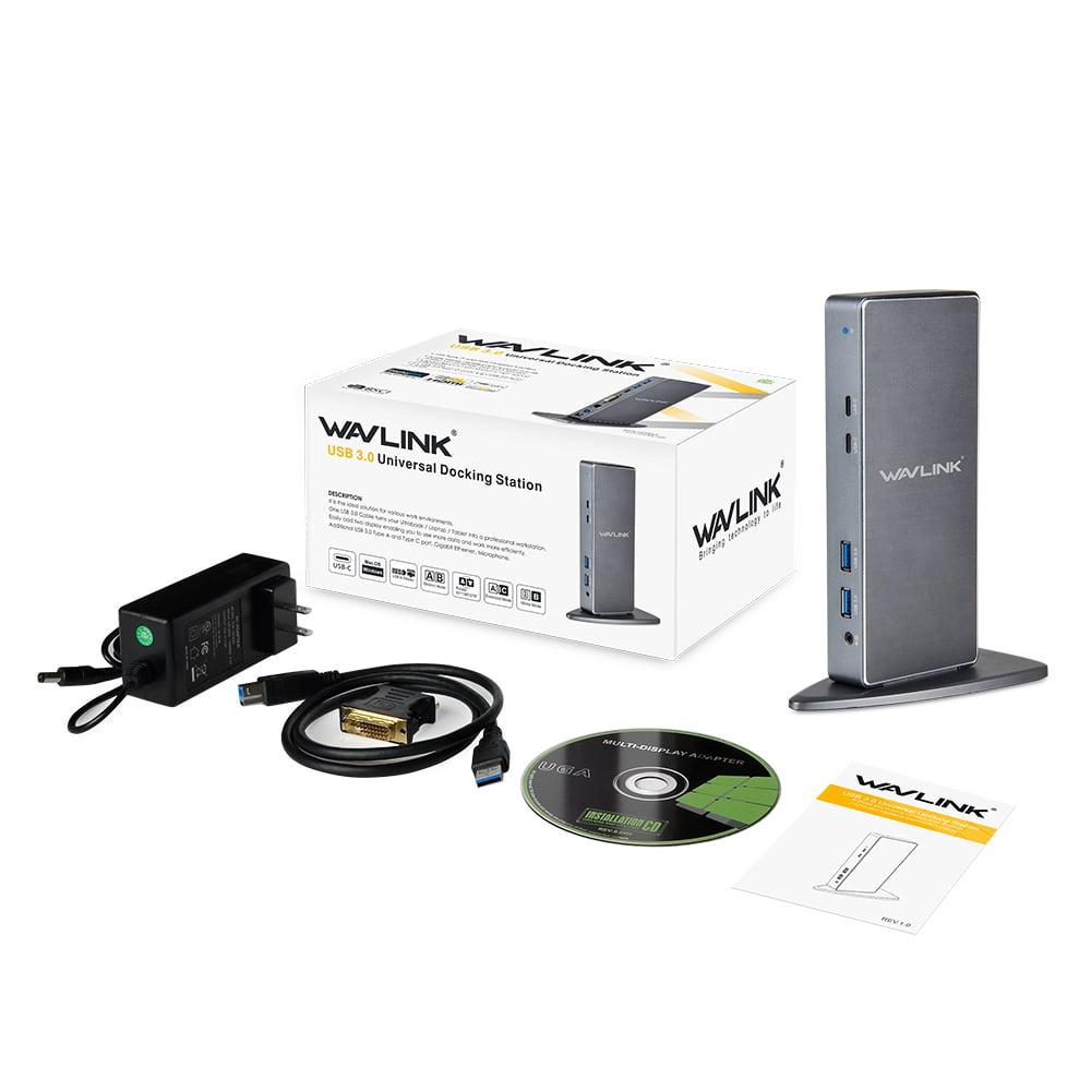 Wavlink USB-C Universal Docking Station for Windows and MAC OS, Dual Video Dual Video Display HDMI/DVI/VGA, Gigabit Ethernet, 4 USB 3.0 Ports, 2 USB-C Ports