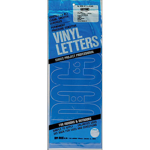 "Dural Decal Vinyl Letters, 6"", Gothic Black"