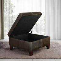 Dorel Living Square Storage Ottoman, Living Room Furniture, Espresso