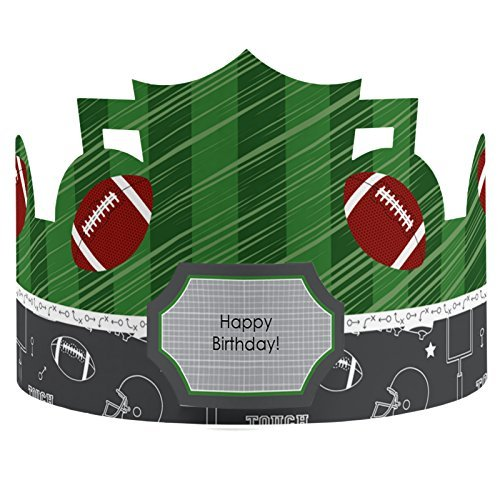 End Zone - Football - Crown Happy Birthday Party Hats - 8 Count