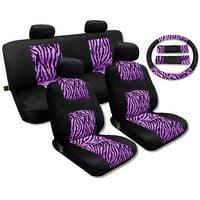Pink Zebra Accent Fur Black Mesh Cool Breeze Animal Print Seat Cover Set Fits Jeep Liberty Low Back Seats