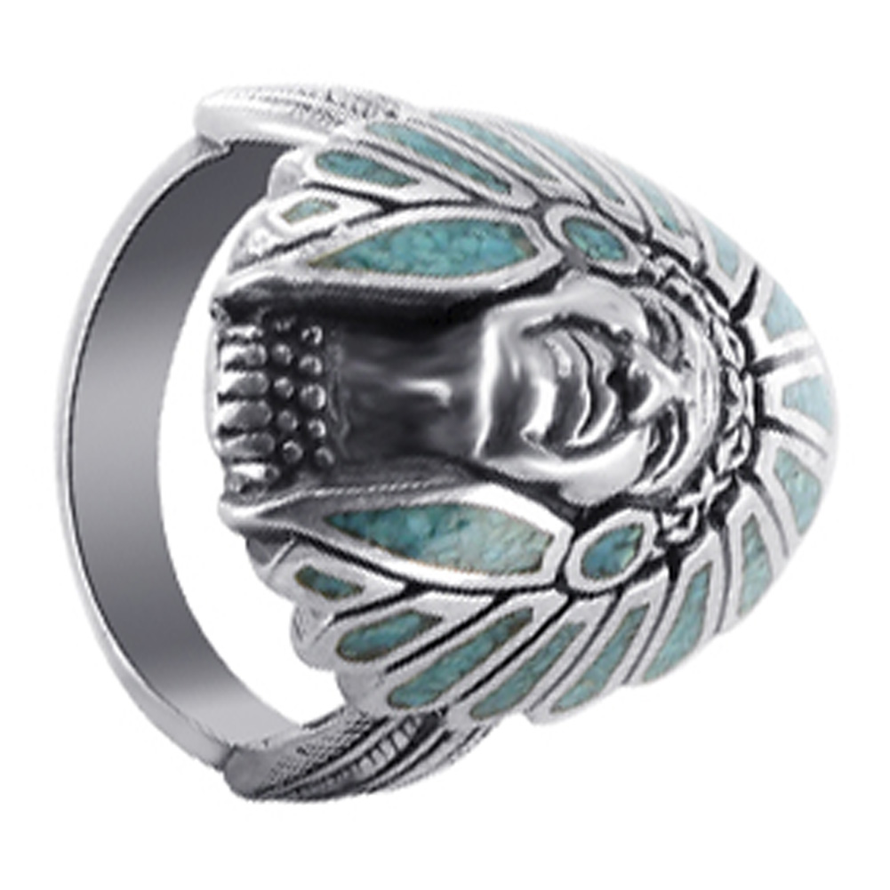 GemAvenue Men's 925 Sterling Silver Turquoise Gemstone So...