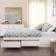 Queen Mates Platform Storage Bed with 6 Drawers, White (Box 1 of 3)