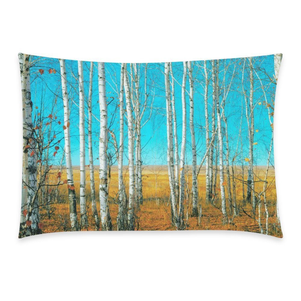ZKGK Autumn the Slender Trunks of Birch Tree Blue Sky Forest Home Decor, Pillowcase 20 x 30 Inches,Nature Art Soft Pillow Cover Case Shams Decorative