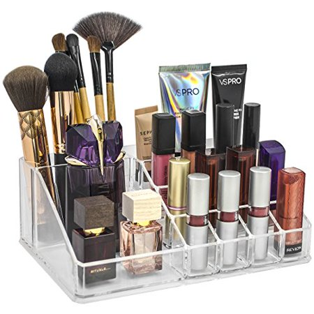 Sorbus Acrylic Cosmetics Makeup and Jewelry Storage Case Display Top-Glamorous, Space-Saving, Stylish Acrylic Bathroom Organizer (Top Style 1 ) - Square Up Store
