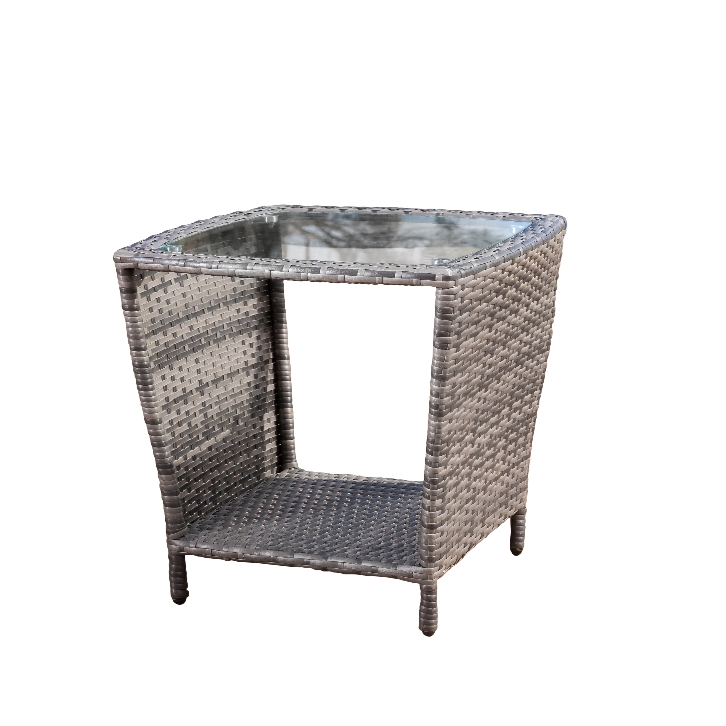 Keenan Outdoor Grey Wicker Side Table With Glass Top