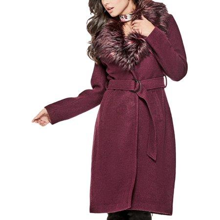 Collar Wool Blend (Guess Womens Anna Faux Fur Collar Wool Blend Midi Coat Purple XS )