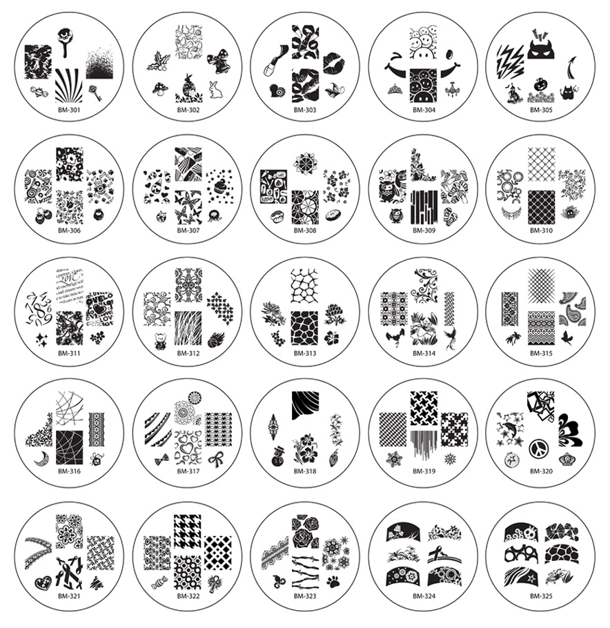 Bundle Monster 25pc Nailart Polish Stamping Plates Image Designs Collection - Series 3