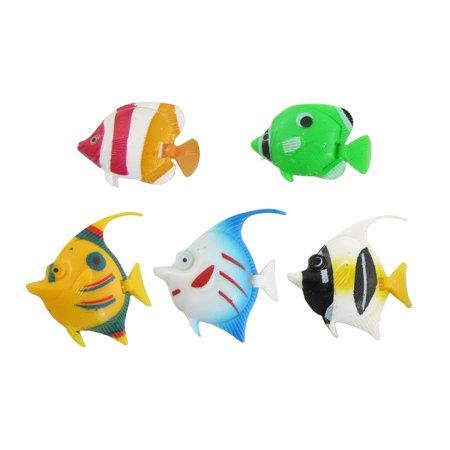 Aquarium Ornament 5 Pcs Colorful Plastic Tropical Fish Cjiak - image 2 de 2