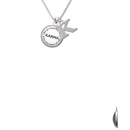 Silvertone Domed Karma Capital Initial K Necklace