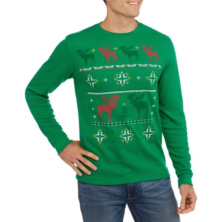 Moose Crossing Men's Graphic Christmas Thermal