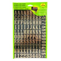 """Hy-Ko 1"""" Vinyl Gold and Black Self-adhesive Sticker Letter and Number Kit"""