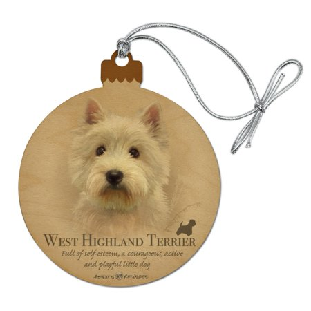 West Highland Terrier Westie Dog Breed Wood Christmas Tree Holiday Ornament Personalized Dog Breed Ornament