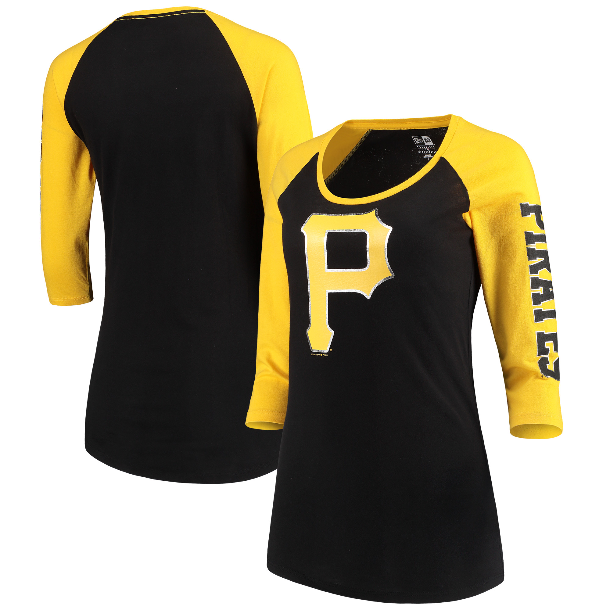 Pittsburgh Pirates 5th & Ocean by New Era Women's Foil 3/4-Sleeve T-Shirt - Black/Gold