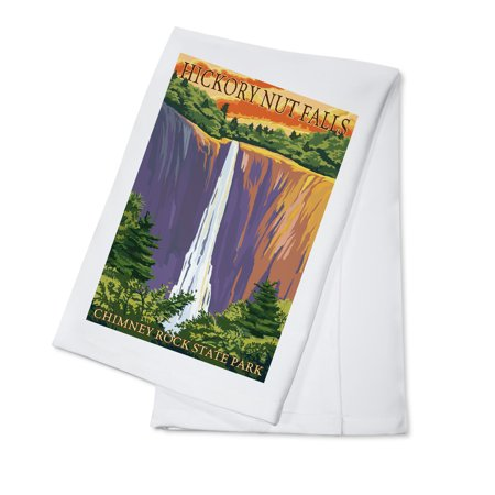 Chimney Rock State Park, NC - Hickory Nut Falls - Lantern Press Poster (100% Cotton Kitchen Towel) ()