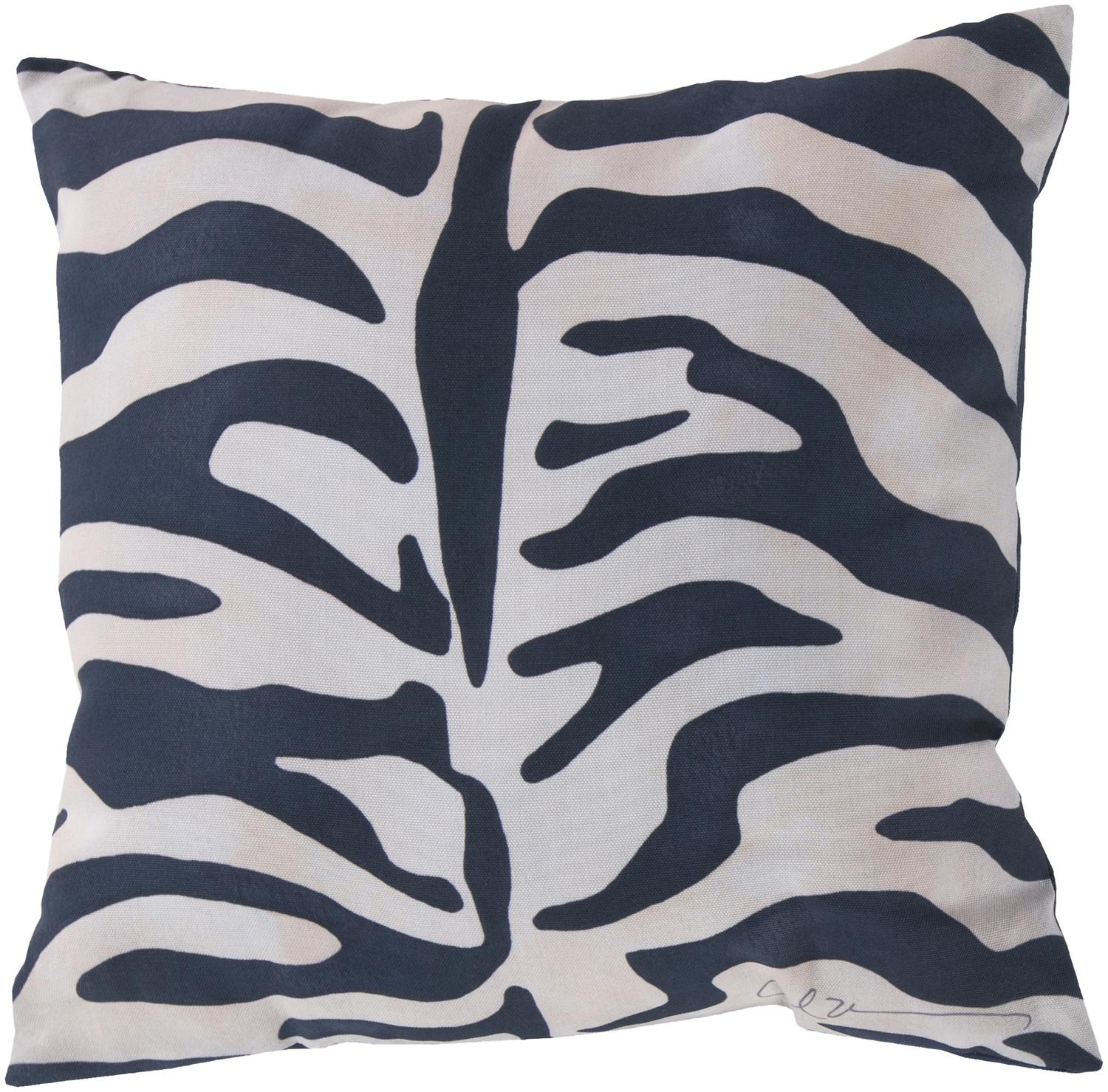 18 Navy Blue And Ivory Zebra Print Decorative Pillow Shell Walmart Com Walmart Com