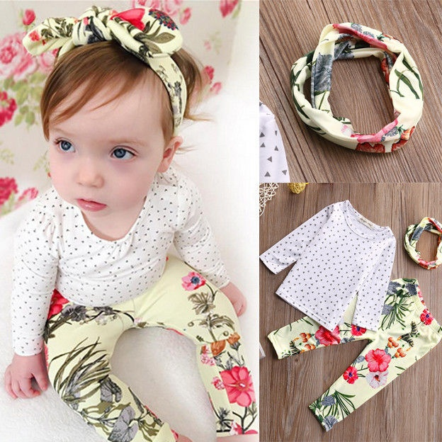 3Pcs Baby Girl Tops T-shirt+Legging Trousers +Headband Kids Floral Outfits Set