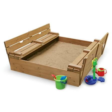 Sandbox 2 Piece Set - Badger Basket Covered Convertible Cedar Sandbox with Two Bench Seats