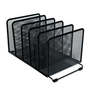 """Universal Deluxe Mesh Stacking Sorter, 5 Sections, Letter to Legal Size Files, 14.63"""" x 8.13"""" x 7.5"""", Black -UNV20001"""