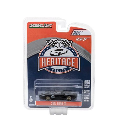 2017 Ford GT Black #2 - Tribute to 1966 Ford GT40 MK II #2 Racing Heritage Series 1 1/64 Diecast Model Car by Greenligh