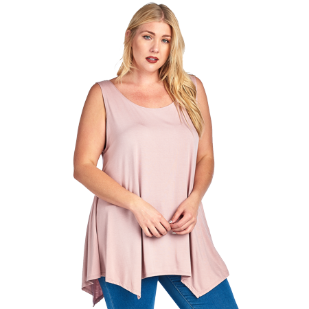 baf4d69f437 SHARON S OUTLET - Plus Size Curvy Women s Casual High Low Tank Top ...