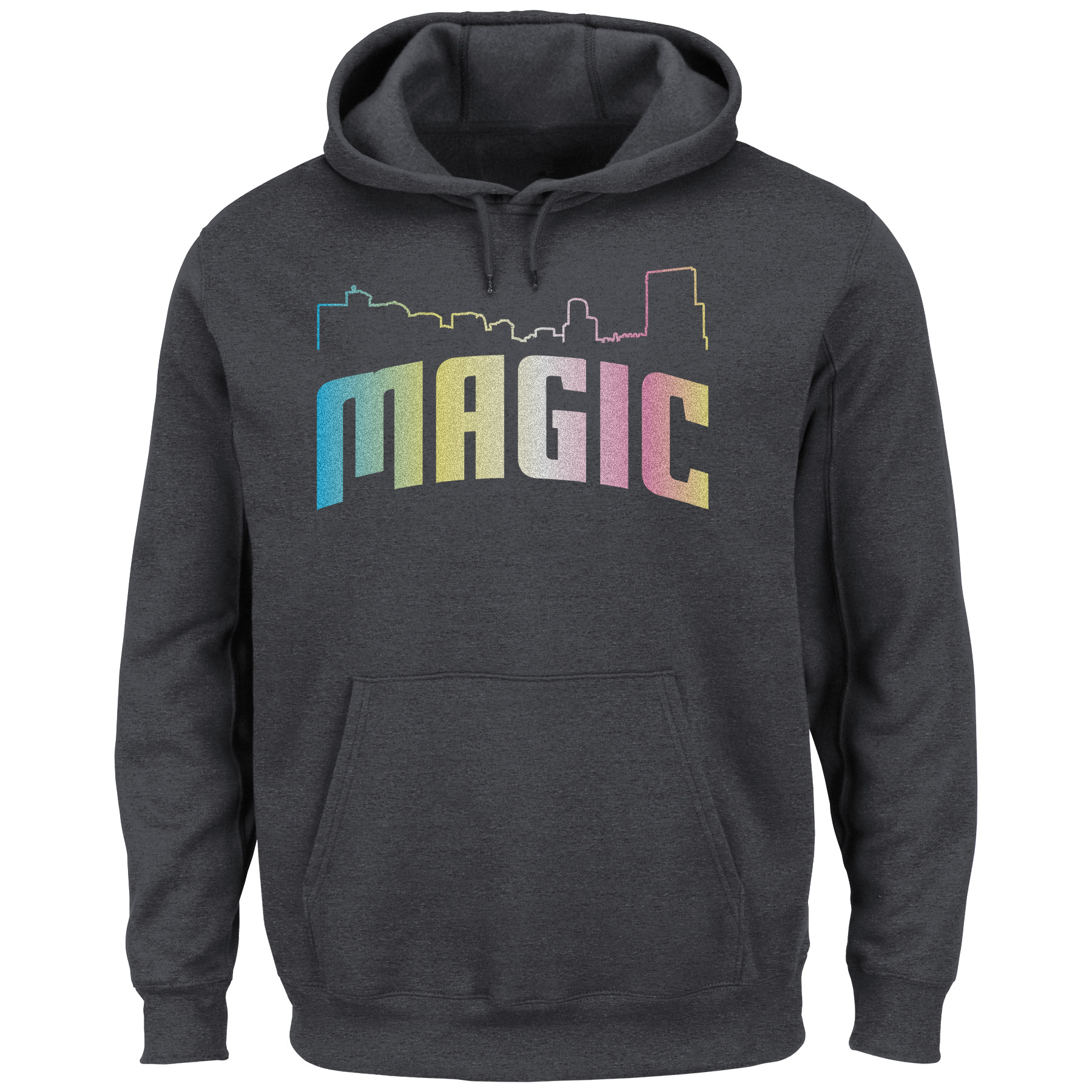 Orlando Magic Majestic Tek Patch Color Reflective Skyline Pullover Hoodie - Heather Charcoal
