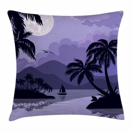 Tropical Throw Pillow Cushion Cover, Caribbean Island Landscape at Night Full Moon Sailboat and Palm Trees, Decorative Square Accent Pillow Case, 16 X 16 Inches, Black Lavender White, by Ambesonne