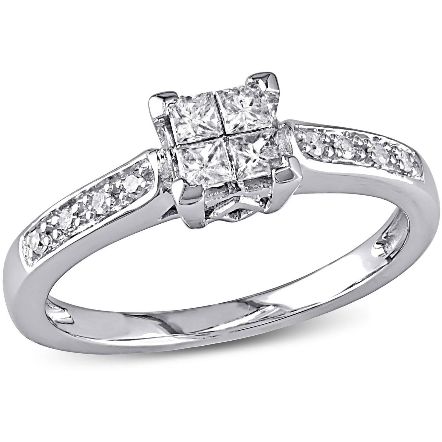 4 Carat Tw Princess And Roundcut Diamond Engagement Ring In  10kt White Gold  Walmart
